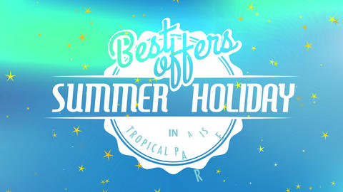 traveling agency text best offering summertime vacation in tropic heaven written combining retro and Animation