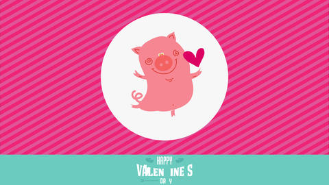 happy valentines day with cute happy pig rising in one leg and making a heart float over pink Animation