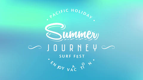 pacific holiday enjoy vacation text surrounding summer journey surf fest written with vintage Animation