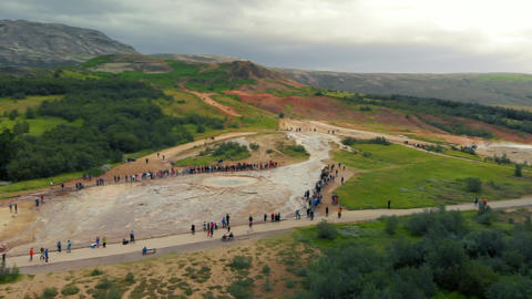 Famous Geysir in Iceland, very slow motion aerial view of eruption. One of the Live Action