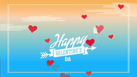 happy valentines day science with italic lettering garnished with cupid arrow on scene designed and Animation