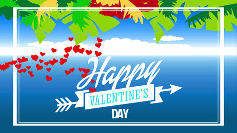 tropic affection letter with text satisfied valentines day written with flowing type in ribbon Animation