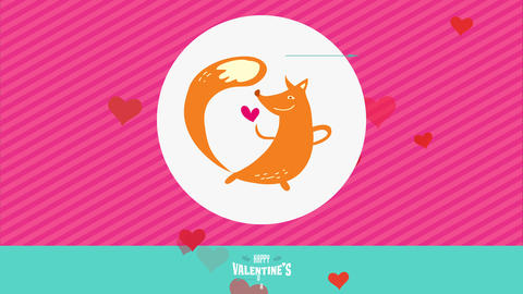 adorable amorous animal valentines day of orage dancer fox with long tailed grinning at mini red Animation