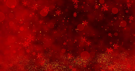 Red confetti, snowflakes and bokeh lights on the red Christmas background Animation