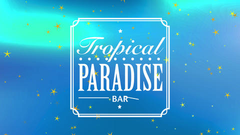 text tropical heaven bar written with trendy or flowing offset separated by a speckled straight Animation