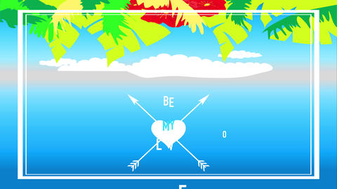 tropical valentines day text be my love written between cupid arrows crossing a heart under a floral Animation