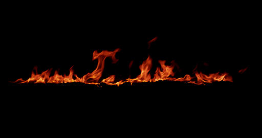 realistic fire flames burn movement frame on black background, with Live Action