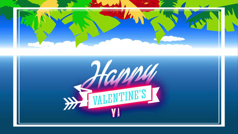 subtropical romance writing with script smiling valentines day written with flowing script in ribbon Animation