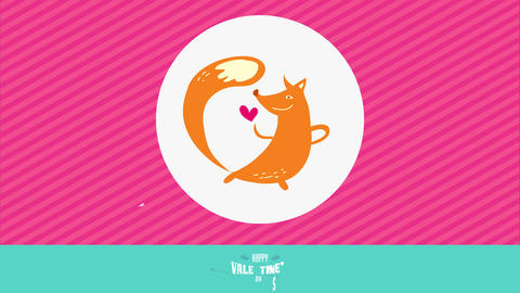 cute romantic animal valentines day of orage dancer fox with long tail smiling at small red heart on Animation