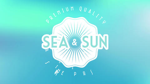 sea and sun premium quality summer paradise written inside and out shell graphic on soft colored Animation