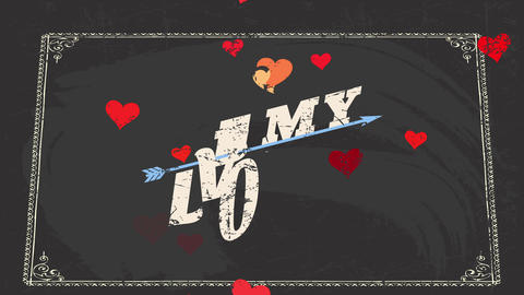 valentines day scene with words be my romance written with classical script crossed by an arrow Animation