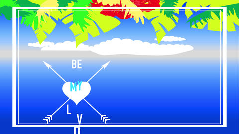 tropic valentines day text exist my romance written between cupid arrows intersection a heart under Animation
