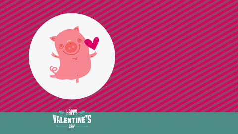 joyful valentines day with precious cheerful pig upward in single ankle and making a heart buoy over Animation