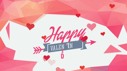 cheerful valentines day written with opposite typography with award traversed by arrow in the middle Animation