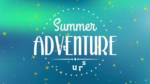 summertime expedition trip written with modern and calligraphy offset in round made with small dots Animation