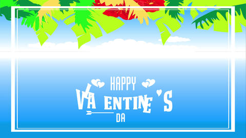 happy valentines day tropical style with palm leafs and vivid red hawaiian flowers creating hedge on Animation