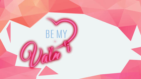 be my valentine script written with classic flowing typography with half heart around words internal Animation