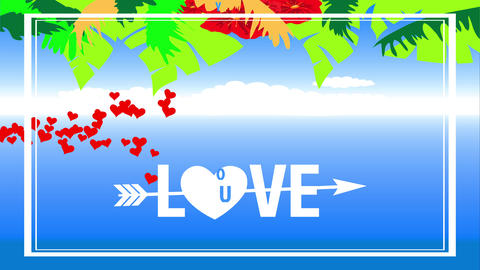 latitude valentines day vacation text with words romance you crossed by an arrow and a heart Animation
