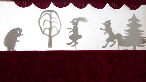 Puppet Shadow Theater. Close-up Live Action
