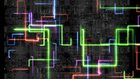 A neon with colorful lines a cyberpunk-like effect HD(Loop) Animation