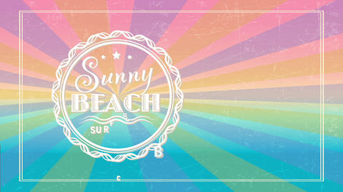summer beach wave club handling vintage offset and colour on scene with text written inner minute Animation