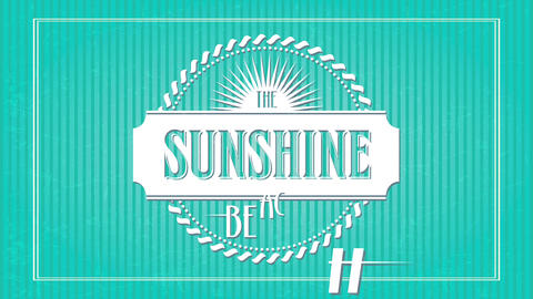 the sunshine beach place advertisement with words written inside and around ribbon surrounded by Animation