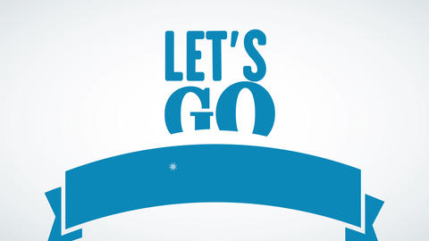 lets go to the beach written in a column with blue typography of different size and words inside Animation