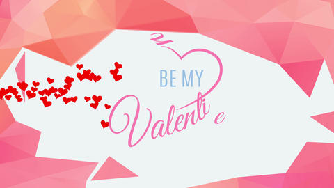 be my valentine text written with classical flowing typography with segment heart surrounding words Animation