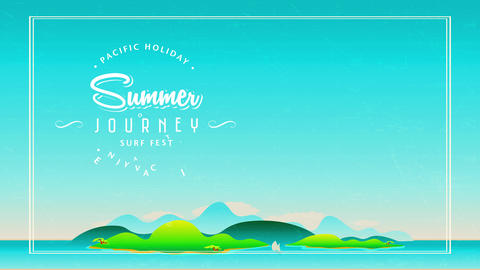 50s fancy travel agency concept with printing creating curve surrounding script summer journey surf Animation