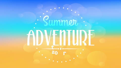 adventure tours for summer season with vintage text typography written inside dotted circle shining Animation