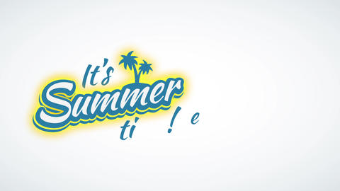 its summer time exclamation script written with blue and white antique handwriting typography with Animation