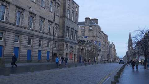 Famous Royal Mile in Edinburgh - EDINBURGH, SCOTLAND - JANUARY 10, 2020 Live Action