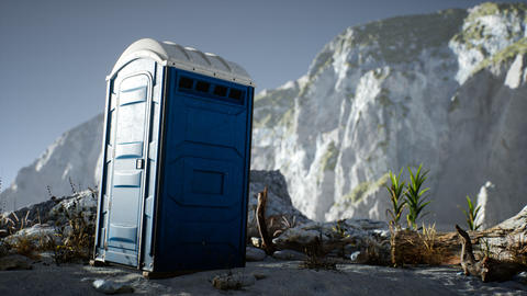 Portable mobile toilet in the beach. chemical WC cabin Live Action