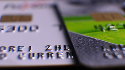 bank cards, credit cards. close-up, macro. e-commerce. business and finance Live Action