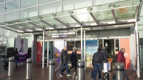 Main terminal of Edinburgh Airport Live Action