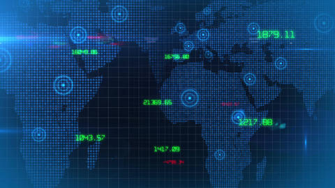 Business financial corporate data network world map background loop 02 Animation