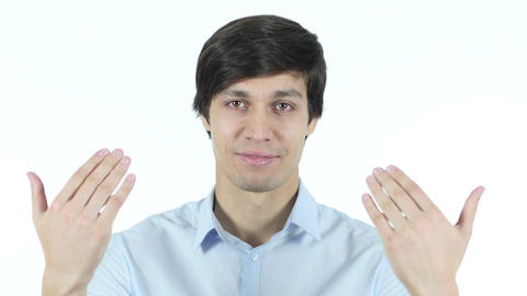 Invitation Gesture by Businessman, Inviting , Portrait Stock Video Footage