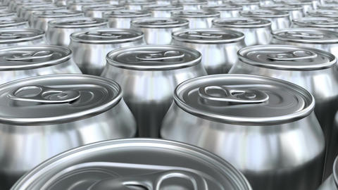 Looping pan over the blank glossy soda cans, soda production line Animation