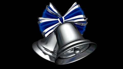 Silver Christmas bells UHD 3D seamless loop animation with alpha mask Animation