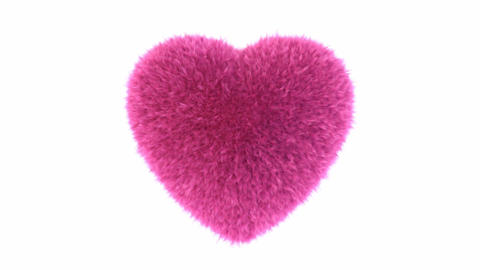 Fluffy heart beats against white loop-able 3D animation with alpha mask Animation