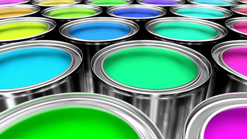 3D animated looping pan along the colorful paint cans Animation