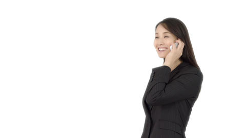 Japanese business woman talking on iphone 2 Live Action