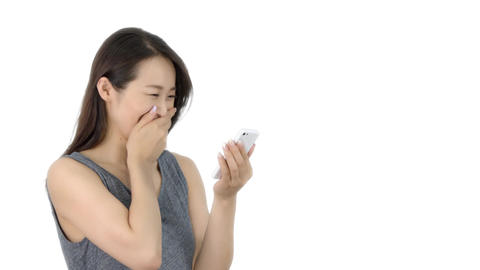 Japanese woman texting on iphone 2 Footage