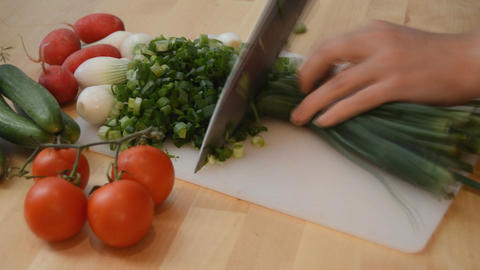 Spring Onion Sliced Into Bits Stock Video Footage