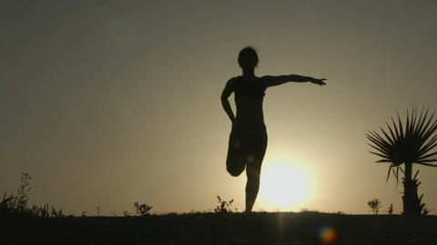 Silhouette of young woman stretching before doing exercises early in the morning Footage