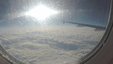 Passenger plane flying above clouds before accident. Air transportation services Footage