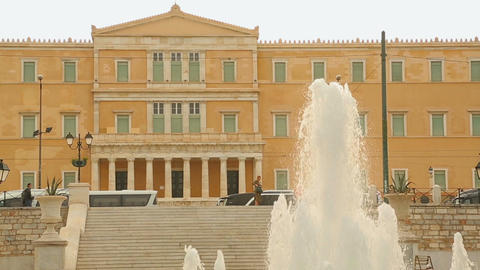 Big fountain in Syntagma or Constitution Square near Greek Parliament in Athens Footage