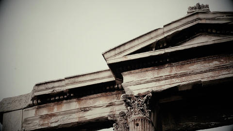 Black and white shot of ancient Greek or Roman architecture design, old movie Footage