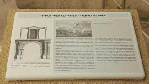 Close-up of reference information table about Hadrian's Arch in Athens, Greece Footage