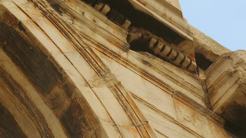 Decaying construction with beautiful moulding on pilaster capitals, architecture Live Action